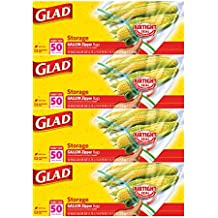 Glad Zipper Food Storage Plastic Bags - Gallon - 200 Count - (Pack of 4)