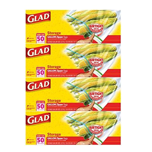 Glad Zipper Food Storage Plastic Bags - Gallon - 200 count