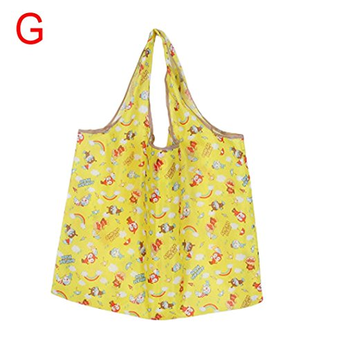 Price comparison product image Goodlock Foldable Reusable Carry Bags Shopping Travel Shoulder Bags Folding Eco Grocery Handbags Tote Pouch Bag (G)