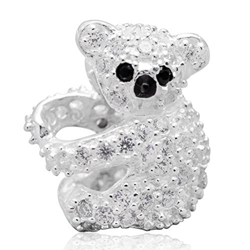 Koala Bear Bead - Choruslove Sparkling Koala Bear Charm with Clear Zirconia 925 Sterling Silver Bead for European Brand Bracelet Jewelry