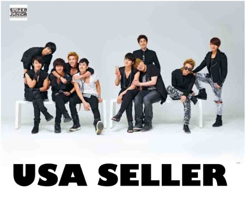 Super Junior Bonamana horiz white Poster Korean boy band Superjunior SuJu Siwon Kyuhyun sent