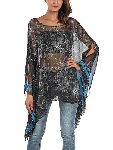 DJT Women's Floral Printed Chiffon Caftan Poncho Tunic Top One Size Black ()