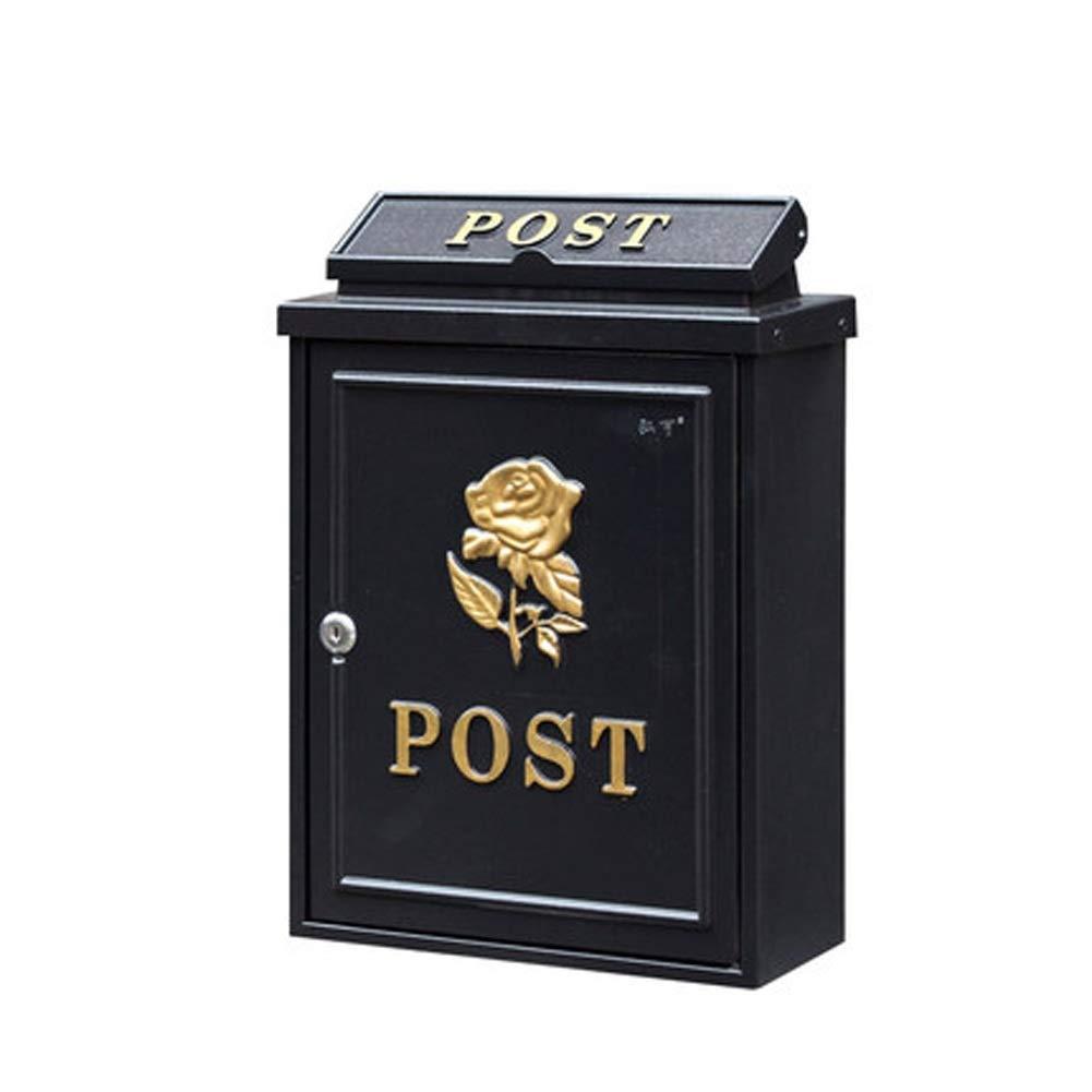 XJZxX メールボックスレトロ屋外壁に取り付けられたヨーロッパのヴィラ防水郵便箱クリエイティブホームレターボックス (Color : Black B)  Black B B07TC8VHDJ