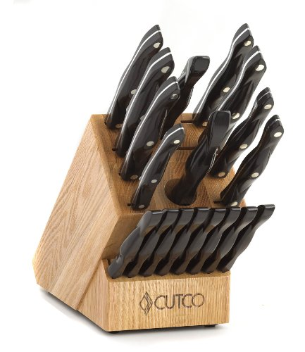 CUTCO Model 2018 Homemaker+8 Set............Includes (8) #1759 Table Knives, (10) Kitchen Knives & Forks, #1748 Honey Oak knife block, #82 Sharpener, and #125 Medium Poly Prep cutting board.......... High Carbon Stainless blades and Classic Brown handles (sometimes called