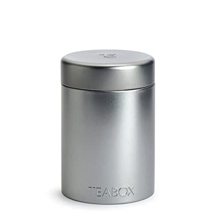 Teabox Round Tea Tin - Silver | Holds 100g of Tea (Twist Lock Top  sc 1 st  Amazon.com & Amazon.com: Teabox Round Tea Tin - Silver | Holds 100g of Tea (Twist ...