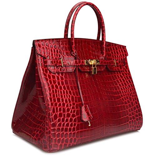 Ainifeel 40cm Oversized Patent Leather Padlock Handbag Business Purse (40cm OVERSIZE, Claret red) by Ainifeel (Image #4)