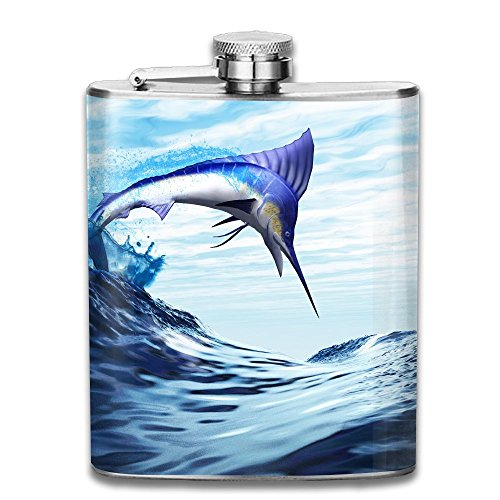 JIUHUBX A Beautiful Blue Marlin Bursts Through A Wave In A Spectacular Jump Stainless Steel Liquor Flagon Retro Pocket Flask\Stainless Steel Travel Flask Great Little Gift,Safe And Nontoxic (Bar Marlin Martini)