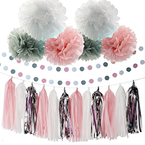 Baby Pink White Grey Baby Girl Baby Shower/Party Paper Decorations First Birthday Girl Decorations Tissue Paper Pom Pom Tassel Garland Circle Paper Garland Baby Shower (Baby Girl Birthday Party Themes)