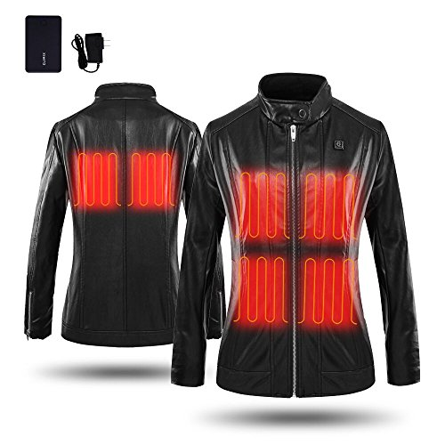 CLIMIX Slim Fit Women Heated Jacket PU Leather Jacket Kits With Battery (M) by CLIMIX (Image #7)