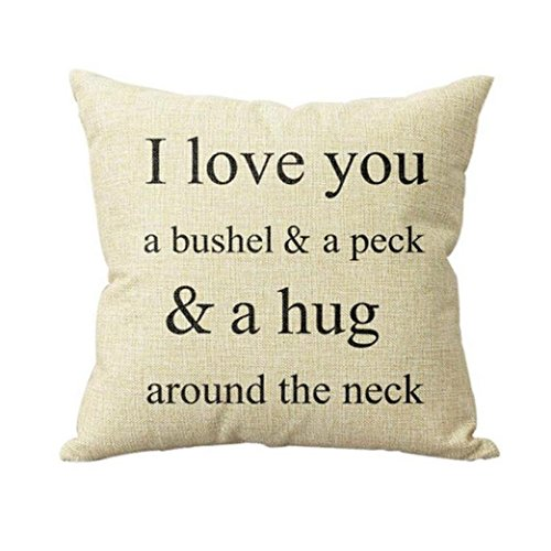 Pillow Cases ,IEason Clearance! I Love You A Bushel And A Peck Sofa Bed Home Decor Pillow Case Cushion Cover