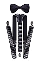 Polka Dots Pre Tied Bow Tie and Adjustable Suspenders Set for Child Adults