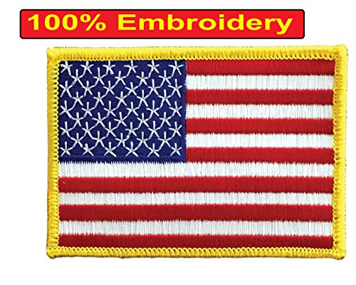 """USA US American Flag Embroidered Patch - x 2.5"""" On or On"""