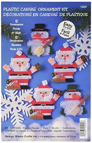 Tobin Santa and Snowman 7 Count Ornaments Plastic Canvas Kit
