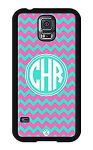 iZERCASE Samsung Galaxy S5 Case Monogram Personalized Pink and Turquoise Chevron Pattern RUBBER CASE - Fits Samsung Galaxy S5 T-Mobile, Sprint, Verizon and International (Black)