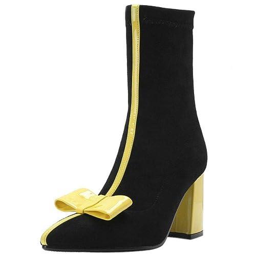COOLCEPT Mujer Dulce Tacón Ancho Botas Cortas sin Cordones Tacón Alto Botas de Tobillo Lazo Vestido