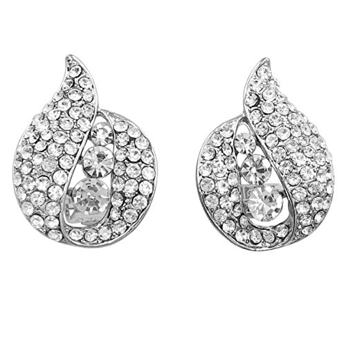 (Abstract Shapes Unique Rhinestone Fancy Formal Prom Clip On Earrings (Silver Tone Swirl))