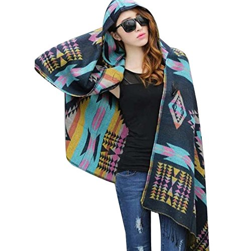 Hooded Wrap Jacket - LSERVER Womens' Bohemian Wraps Hooded Capes Coat Shawls Cold Weather Navy