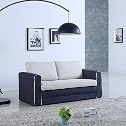 Divano Roma Furniture Modern 2 Tone Modular/Convertible Sleeper (Dark Blue/Beige)