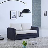 Modern 2 Tone Modular / Convertible Sleeper (Dark Blue / Beige)