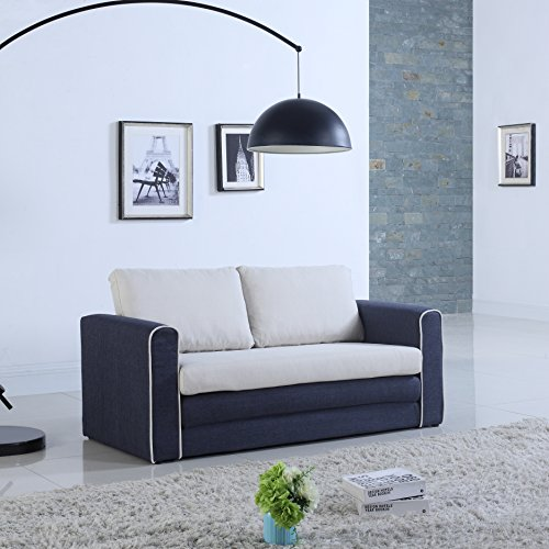 - DIVANO ROMA FURNITURE Modern 2 Tone Modular/Convertible Sleeper (Dark Blue/Beige)