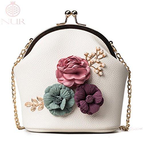 NUR Women Retro Flower Evening Handbag Chain Strap Shoulder Crossbody Bag Purse Clutch