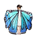 Kids Butterfly Flowy Wings Shawl Cape Party Prop Soft Fabric Butterfly Wing Costume Accessory for Kids Girls (Blue)