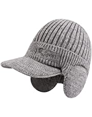 PESAAT Autumn Thick Men Knit Visor Winter Warm Adult Earflap Beanie Hat Classic Men Skull Cap