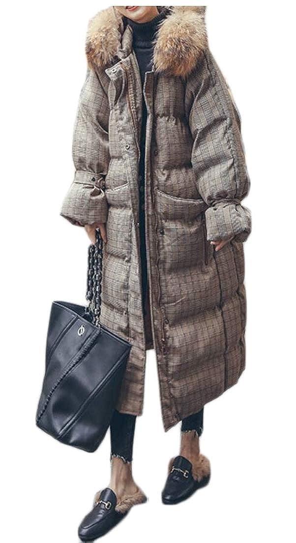 1 Keaac Women Warm Winter Fur Collar Long Puffer Down Coats Outwears