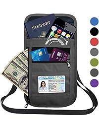 RFID Blocking Travel Passport Holder Neck Pouch Wallet for Men & Women