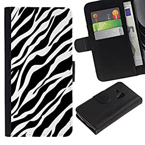 APlus Cases // Samsung Galaxy S3 MINI NOT REGULAR! I8190 I8190N // Cebra líneas Piel Diseño Negro Blanco Clean // Cuero PU Delgado caso Billetera cubierta Shell Armor Funda Case Cover Wallet Credit Card