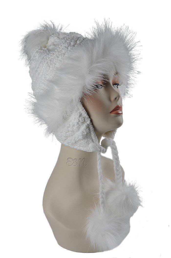 Wool & Faux Fox Fur Winter Mongolian Hat Ushanka Trapper Russian Style Hat in white 12013 A