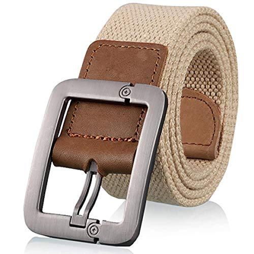 [해외]Men`s cloth belt jeans needle buckle belt outdoors Khaki 100cm / Men`s cloth belt jeans needle buckle belt outdoors Khaki 100cm