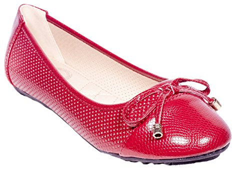 Buckle Accent Ballet Flats (ONE Women Ballerina Flats Shoes, Bow & Buckles Accents, B-2044, Red, 9)
