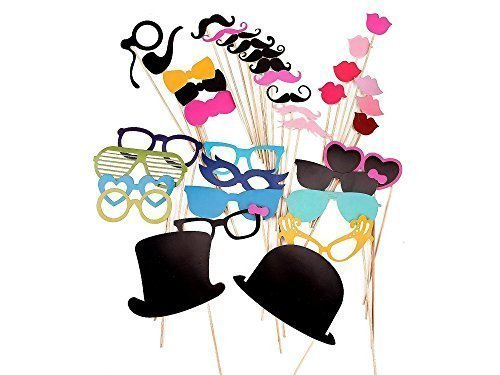 36 Pcs Colourful Party Props Photo Booth On Sticks Diy Funny For Wedding, Birthday, Christmas, - Template Booth Glasses For Photo