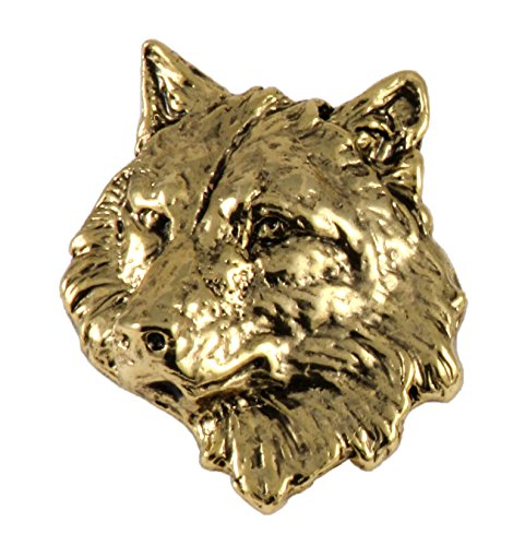 Wildlife Pin (Creative Pewter Designs Pewter Wolf Head Handcrafted Wildlife Lapel Pin Brooch, 24k Gold Plated, MG041)