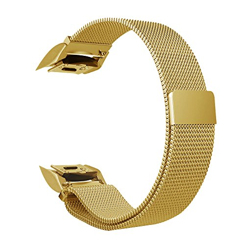 Gear S2 Watch Band [Large], Fintie [Magnet Lock] Milanese Loop Adjustable Stainless Steel Replacement Strap Bands for Samsung Gear S2 SM-R720 / SM-R730 Smart Watch - - Gold S2