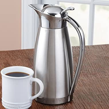 Oggi Clarisa Satin Finish Stainless Steel 54 Ounce Thermal Vacuum Carafe