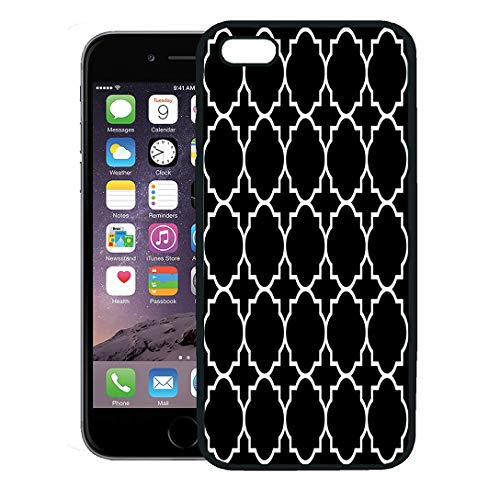 Emvency Phone Case for iPhone 8 Plus case Cover,Christian Black Geometric Pattern Byzantine Stencil Church Abstract,Rubber Border Protective Case,Black