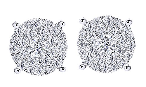 Round Cut White Natural Diamond Hip Hop Cluster Stud Earrings 18K Solid White Gold (4 Cttw) by wishrocks