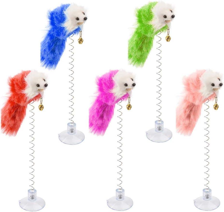 Pveath Ratón Falso, con Ventosa, Juguete para Gato, 8 Piezas de Juguete para Gatos, Varita Peluda para Mascotas, Juguete con Campana (Mezcla de Color)