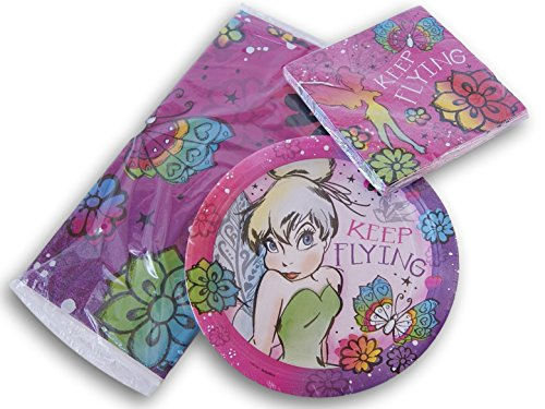 Tinkerbell Fairy Party Set - Tablecover, Dinner Plates, and Dinner (Tinkerbell Birthday Theme)