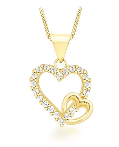 Carissima Gold 9ct White Gold Diamond Double Heart Pendant on Chain Necklace of 46cm/18 9B0fru7cb