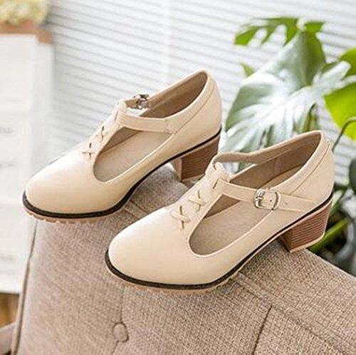 Easemax Womens Sweet Ankle Buckle Strap Round Toe Low Top Mid Chunky Heel Pumps Shoes Beige u0jLj0hLb