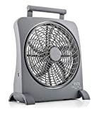 O2COOL Treva 10 Inch Smart Power Fan With Built In Rechargeable Batteries and USB Port For Cell Phone Charging