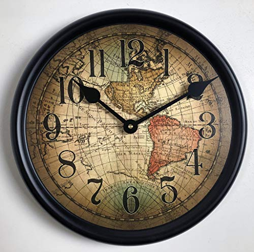 - Vincenzo World Map Wall Clock, Available in 8 Sizes, Most Sizes Ship The Next Business Day, Whisper Quiet.