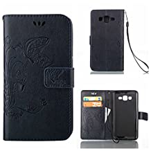 CUSKING Galaxy Core Prime Case, Wallet Leather Flip Case Silicone Case Embossed Butterfly Pattern Design Lifeproof Cover Case with Magetic Closure and Card Holder for Samsung Galaxy Core Prime - Navy Blue