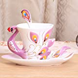 Creative European style bone China coffee cup ceramic Teacup Cup Saucer red English afternoon tea,Blue
