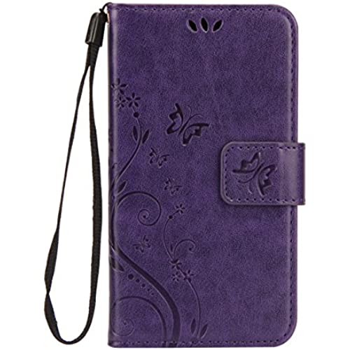 Samsung Galaxy S7 Case, UZZO [Emboss Flower Butterfly] Premium PU Leather Wallet Case with Wrist Strap Flip Case Cover for Samsung Galaxy S7,Purple Sales