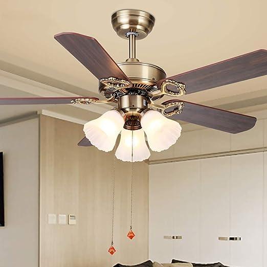 Luz de ventilador de techo Araña de interruptor de tiro Luz de ventilador de 42 pulgadas / 107 cm Lámpara de ventilador retro europea Regulable con luz LED, bronce, E27,: Amazon.es: Hogar