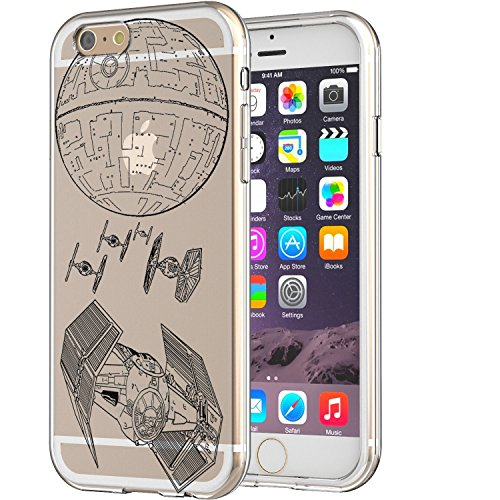 T.I.E Fighter Death Star Star Wars Art Clear Soft Rubber Silicon Apple IPhone 6/6s Case Embossed Uv Print Design (Ti Fighter Star Wars compare prices)